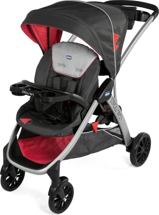 Chicco Stroll in 2 Buggy - Polyester/aluminium - Zwart/Rood